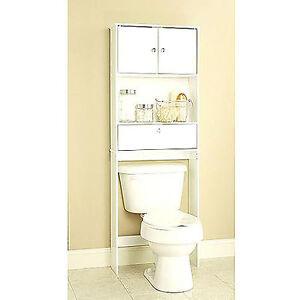 new bathroom over the toilet space saver storage cabinet shelf organizer white ebay. Black Bedroom Furniture Sets. Home Design Ideas