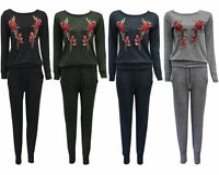 New Women's Ladies Rose Embrodered Flower Lounge Wear Tracksuit Gift 2pc set UK
