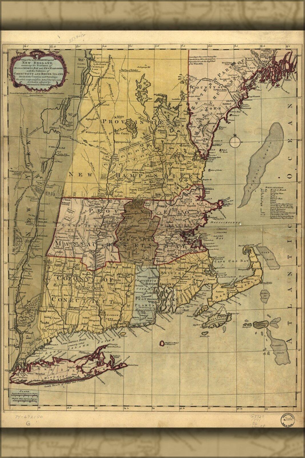 Poster, Molte Molte Molte Misure; Mappa Del New England 1771 3fe814