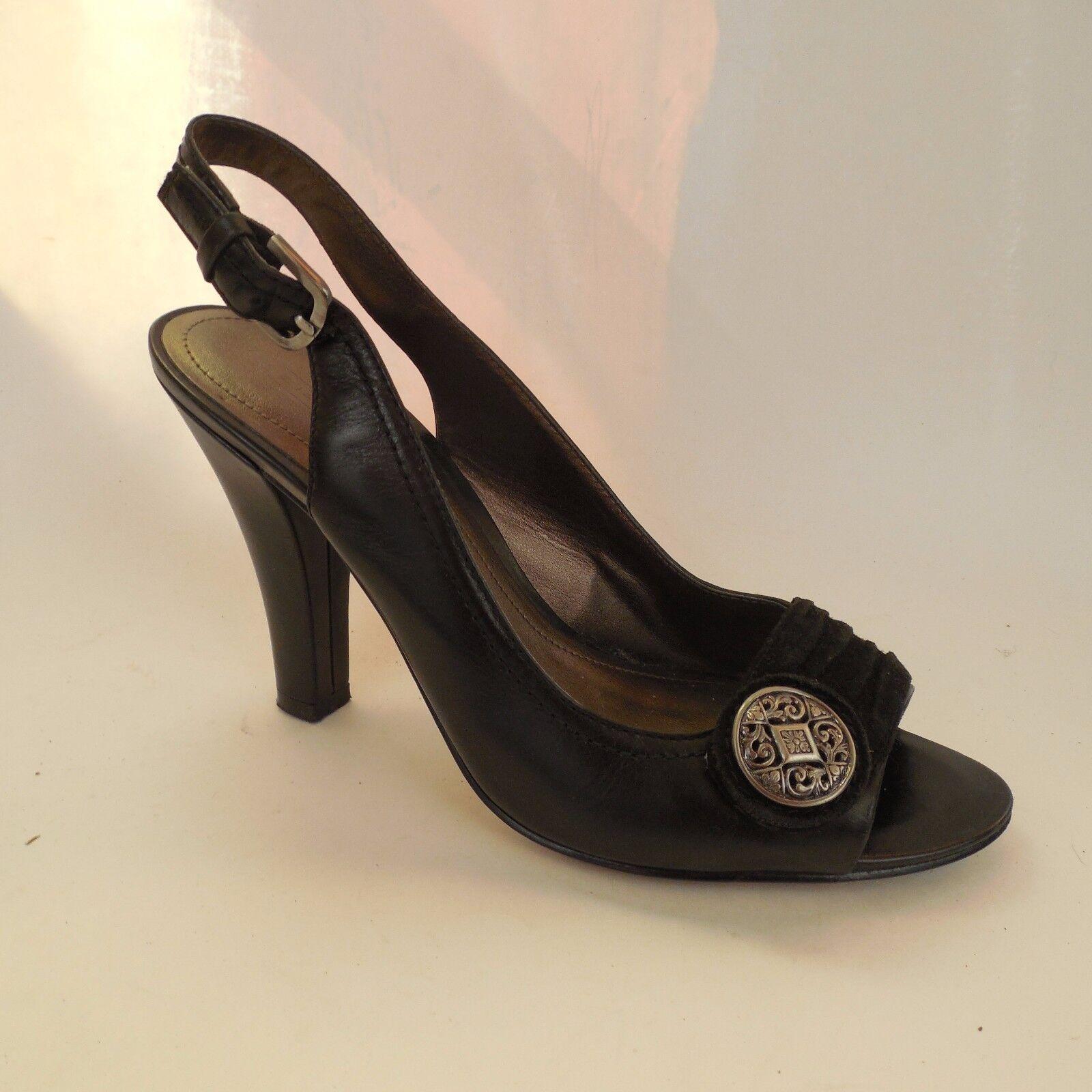 Joan & David CJKeely Black Leather Slingback Open Toe Pumps Heels 6 M Heels GUC
