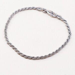 6-75-2mm-Vtg-Sterling-Silver-bracelet-925-Italy-Rope-chain