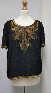 14 Sequin Black Womens Sensations Beads Size Top Embellished qv1UAX
