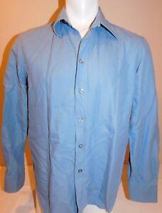 EMPORIO-ARMANI-MEN-039-S-LARGE-BLUE-LONG-SLEEVE-DRESS-SHIRT