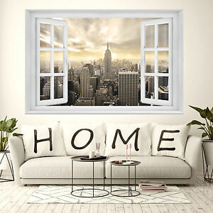 fototapete 3d fenster 183 x 127cm new york manhattan skyline tapete ink kleister ebay. Black Bedroom Furniture Sets. Home Design Ideas