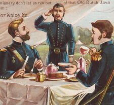 Military US Army Tent 1800's Dutch Java Coffee Thomson & Taylor Spice Trade Card