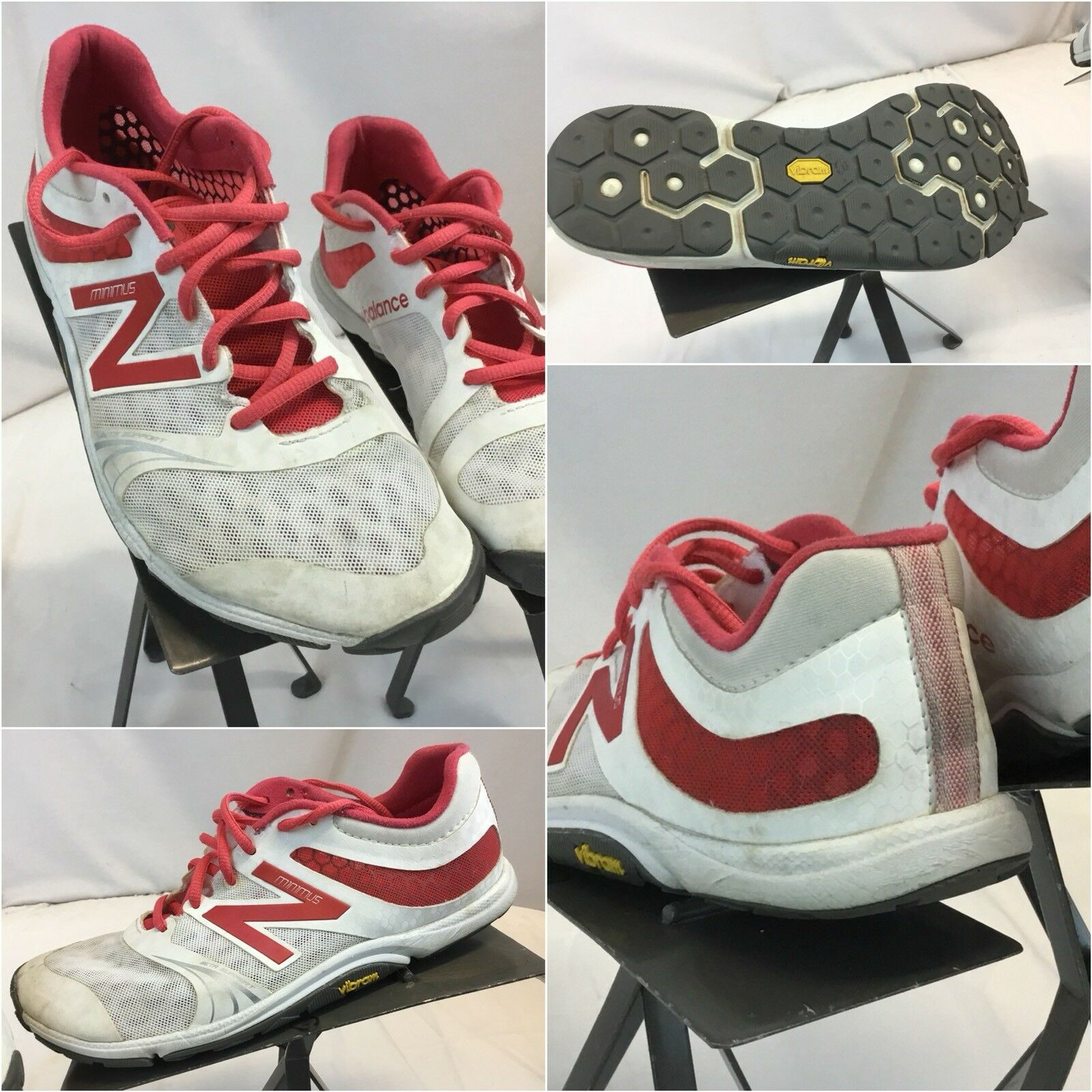 New Balance Minimus Sz 8 B Women White Red Running shoes Vibram YGI D8