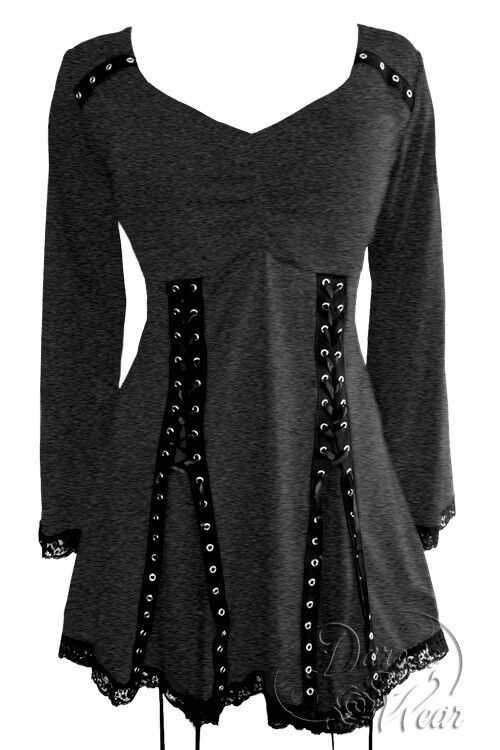 Dare to Wear Victorian Gothic Plus Größe Electra Corset Top in Charcoal