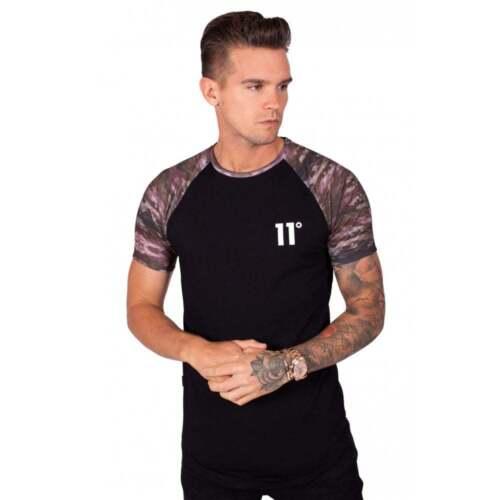 11 Degrees Crew Neck T Shirt Short Sleeve Watercolour Camo Raglan Black