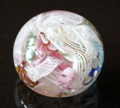 A Beautiful Vintage Murano Glass Paperweight With Latticino Tutti Frutti