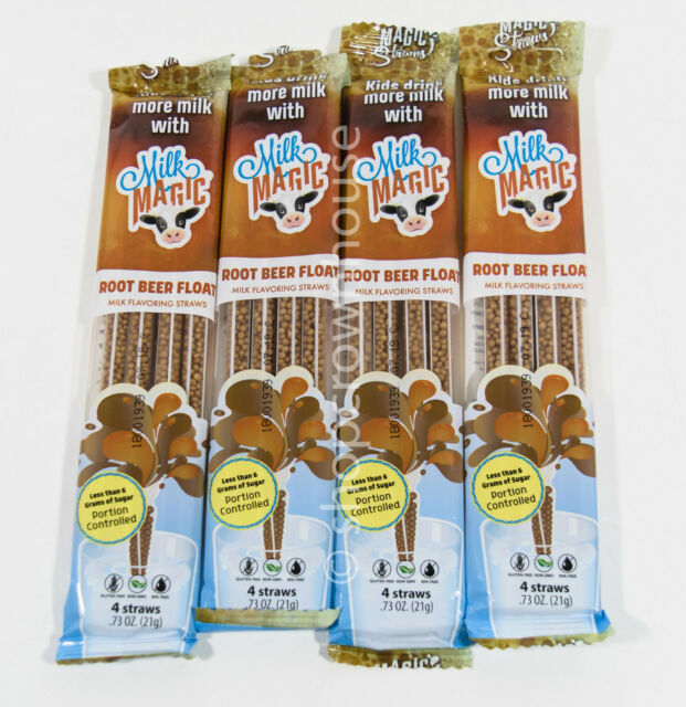 Root Beer Float Straws: 4 Packs= 16 Straws Milk Magic ROOT BEER FLOAT Flavored For