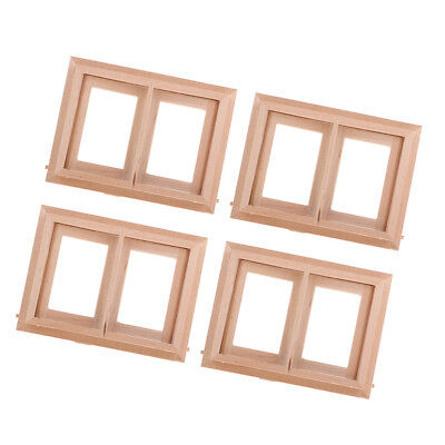 1//12 Dollhouse Miniature DIY Unpainted Wooden 2-Pane Window Frames Accessory