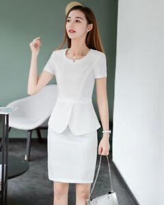 suave y ligero apariencia estética grandes variedades Detalles de élégant Traje conjunto de mujer blanco suéter chaqueta manga  falda 7048