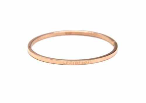 BC2568F - Bracelet Jonc Fin Acier Or Rose avec Message La vie est belle