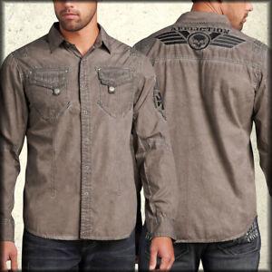 Affliction Vibrations Skull Mens Long Sleeve Dress Shirt Brown Plaid NEW Small