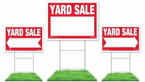 Image Is Loading Yard Sale Sign Kit 3 Signs With Steel