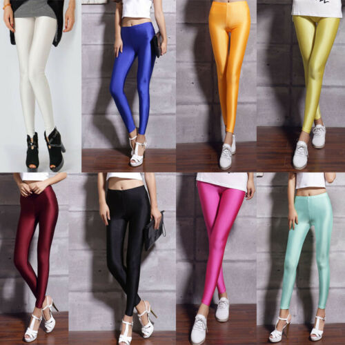 Women Candy Fluorescent Stretchy Disco Shiny Wet Look Slim Leggings Tight Pants
