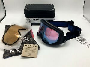 2decf547f2dd Image is loading Native-Eyewear-Coldfront-Indigo-Snow-Goggles-Rose-w-