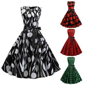 df0b8cbd04c4 Women's Vintage 1950s Polka Dot Rockabilly Evening Prom Swing Dress ...