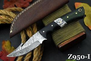 Custom Damascus Steel Gut Hook Hunting Knife Handmade,G-10 Micarta Handle Z950-I