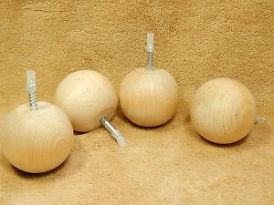 Details About Unfinished Hard Wood Maple 2 1 4 Round Ball Bun Bunn Feet Furniture Legs