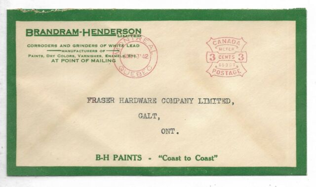 1942 Montreal, Quebec  3 cents Meter on a Brandram-Henderson Ltd. Paints cover
