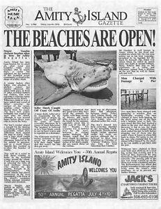 1975 Jaws Amity Island Gazette The Beaches Are Open! > Print > Great White Shark
