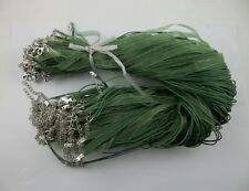 wholesale 50pcs Army green Organza Ribbon Necklace Silk Cord Clasp 430mm