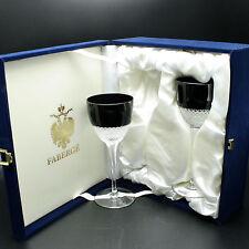 Set of 2 Faberge Firenze Wine Glasses Black Cased Crystal w/ Gift Box