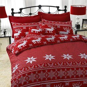 Grand-n-ud-Poly-Coton-Noel-Parure-de-lit-NORDIC-Rouge-Simple-Double-King