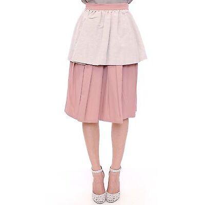 NWT $400 Comeforbreakfast Pink Gray Knee-Length Skirt Pleated A-Line XS/US4/EU34