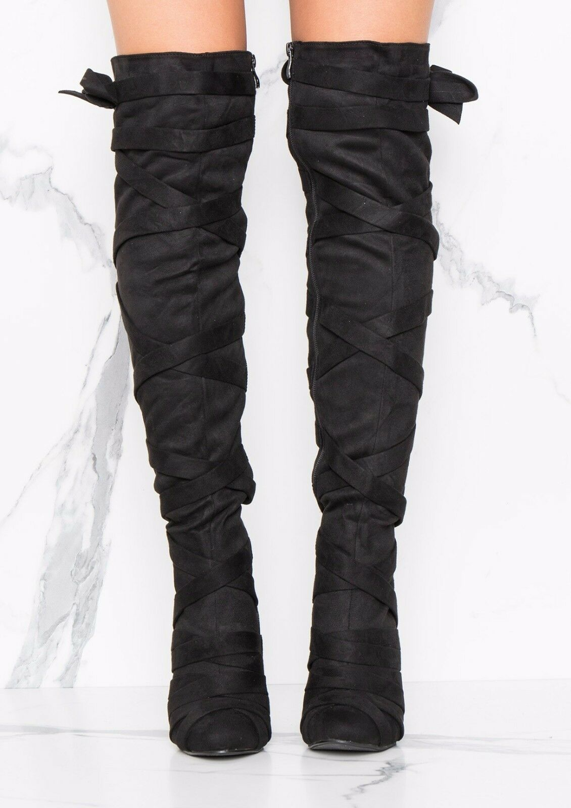 No Doubt Faux Suede Strap Detailing Over The Knee High Boot - Black - UK 4-7