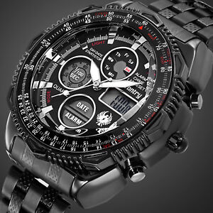 INFANTRY-Mens-Digital-Watches-Chronograph-Military-Army-Sport-Stainless-Steel