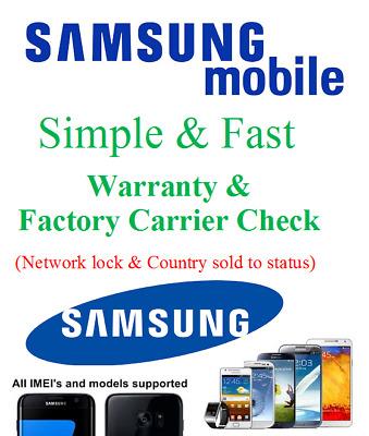 Samsung Galaxy Warranty Check Carrier Network status Factory lock unlock  check | eBay