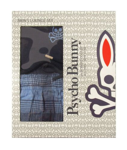 Psycho Bunny Men/'s Peacoat Navy Thermal L//S /& Flannel Pant Lounge Set Gift Box