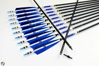 31 Carbon Arrows Blue Shield Turkey Feather Screw Tips Arrows Practice Hunting
