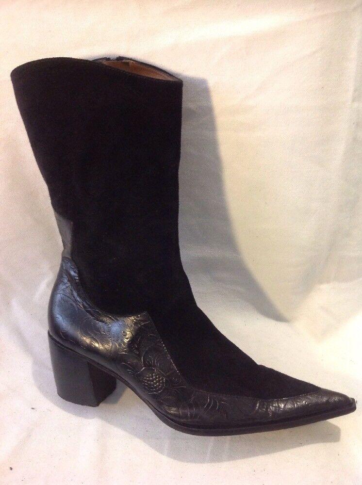 Luis Esteve Black Mid Calf Leather Boots Size 40