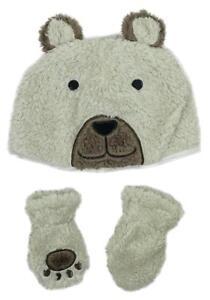 Boys Baby Toddler Teddy Bear Fleece Hat   Mittens Set Newborn to 24 ... 0156778a9e6