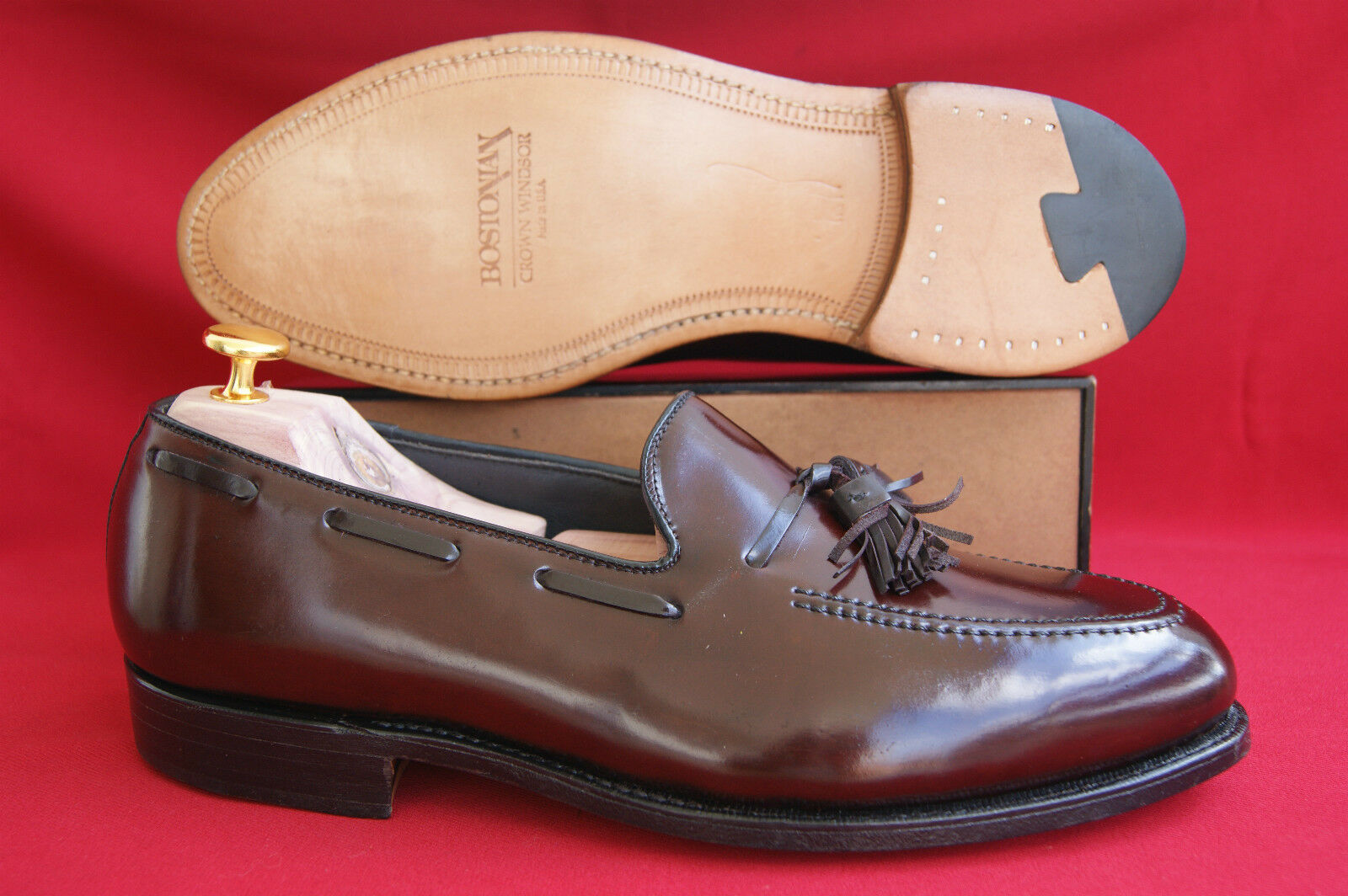 Bostonian USA Horse leather Shell Cordovan US 9 EEE  Rarity New + shoes trees