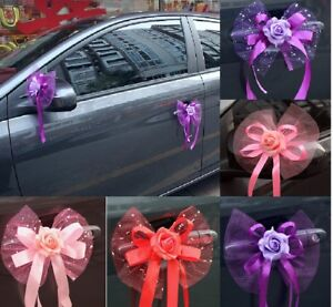 Wedding-Car-Rose-Flowers-And-Ribbons-Decorations-Photo-Props-Set-Of-6