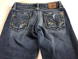 BKE-Jeans-Capri-Womens-26-Stella-Stretch-Bling-Stones-Pants-28-x-21-Actual-Denim