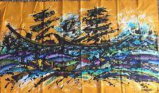 GRANDE Batik indonesiano astratto NAUTICA 146 x 88 cm Pittura