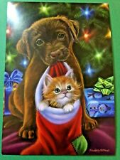 Dog Holding Cat In Stocking Theme ID#361 Leanin/' Tree Christmas Card