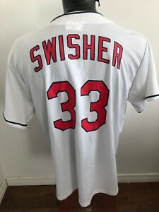 hot sale online 8a375 2ed1b MENS XL MLB Baseball Jersey Cleveland Indians #33 Swisher ...