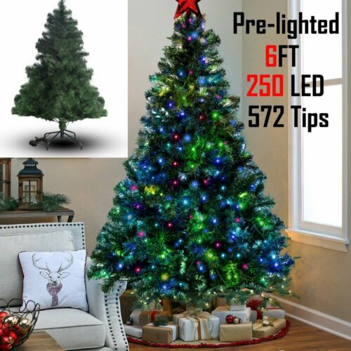 Pre Lit Christmas Tree Xmas Optic LED Lights Star With Stand 3ft 4ft 5ft 6ft 7ft