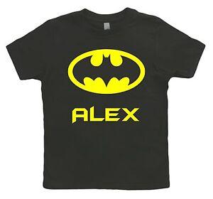 Funky-personnalise-batman-superhero-Kids-tout-petits-T-Shirt-Ages-1-12