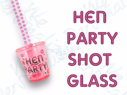 10 X PINK SHOT GLASSES HEN NIGHT PARTY WITH 84CM NECKLACE FOR HEN DO ACCESSORIES