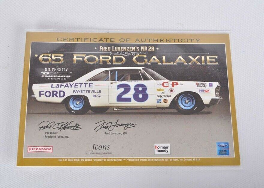 Fred Lorenzen Lafayette Ford    Galaxie Autographed With Framed Photo And COA 13872e