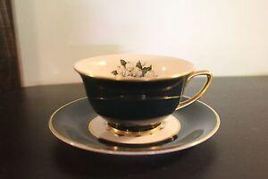 Vintage Royal Jackson Countess Madison Dark Jade Green Cup Saucer