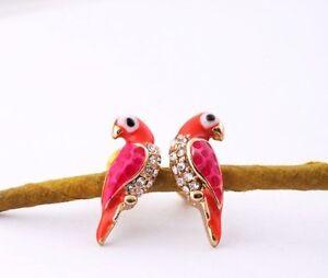 Pendientes-Papagayo-Cristal-oro-de-colores-Tier-Estilo-Rojo-damas
