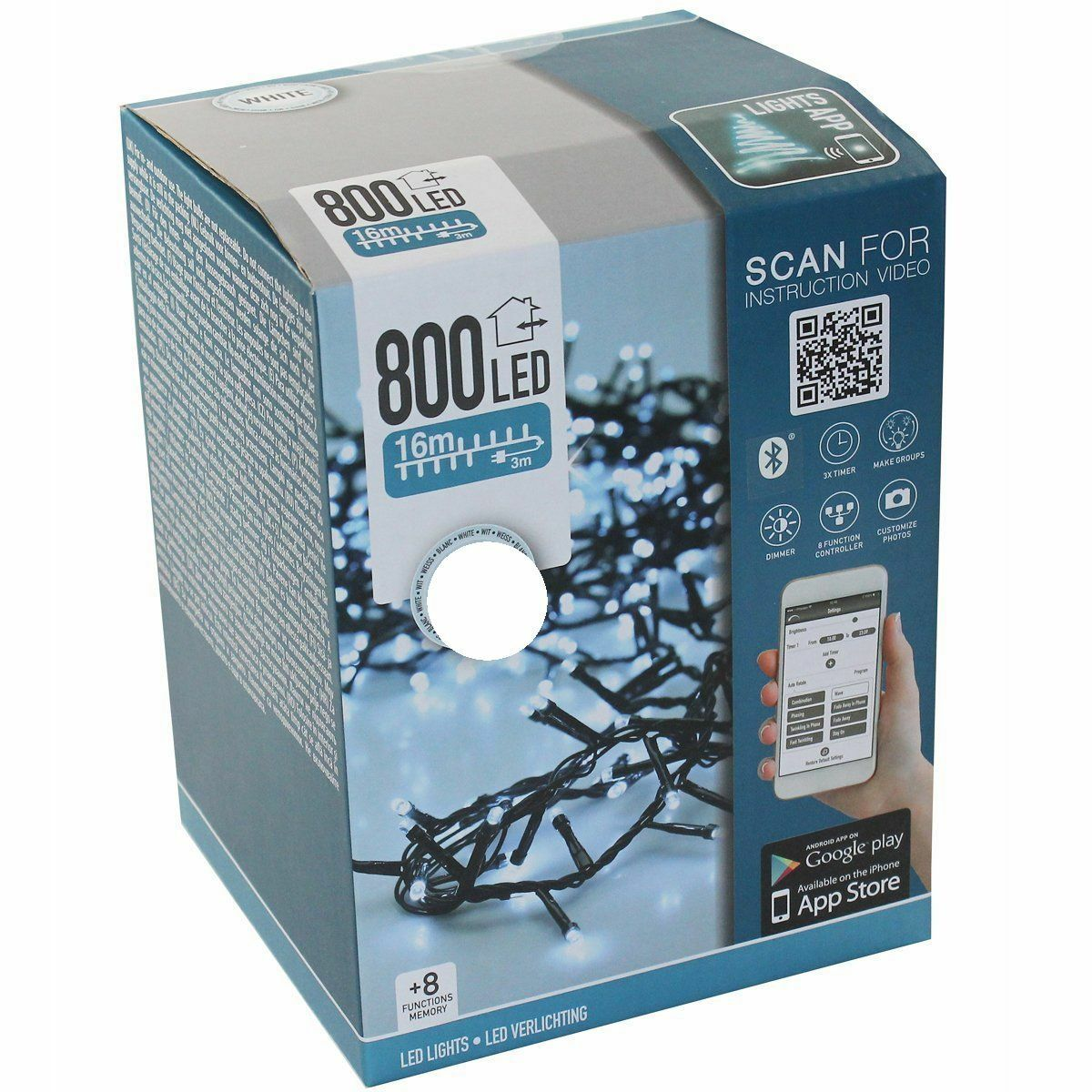 Cluster Lichterkette 800 800 800 LED mit App Blautooth Timer Dimmer Weihnachten Warmweiß f383e5
